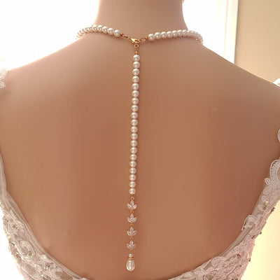 Rose Gold Back Necklace in Pearls With Separable Backdrops-Katie