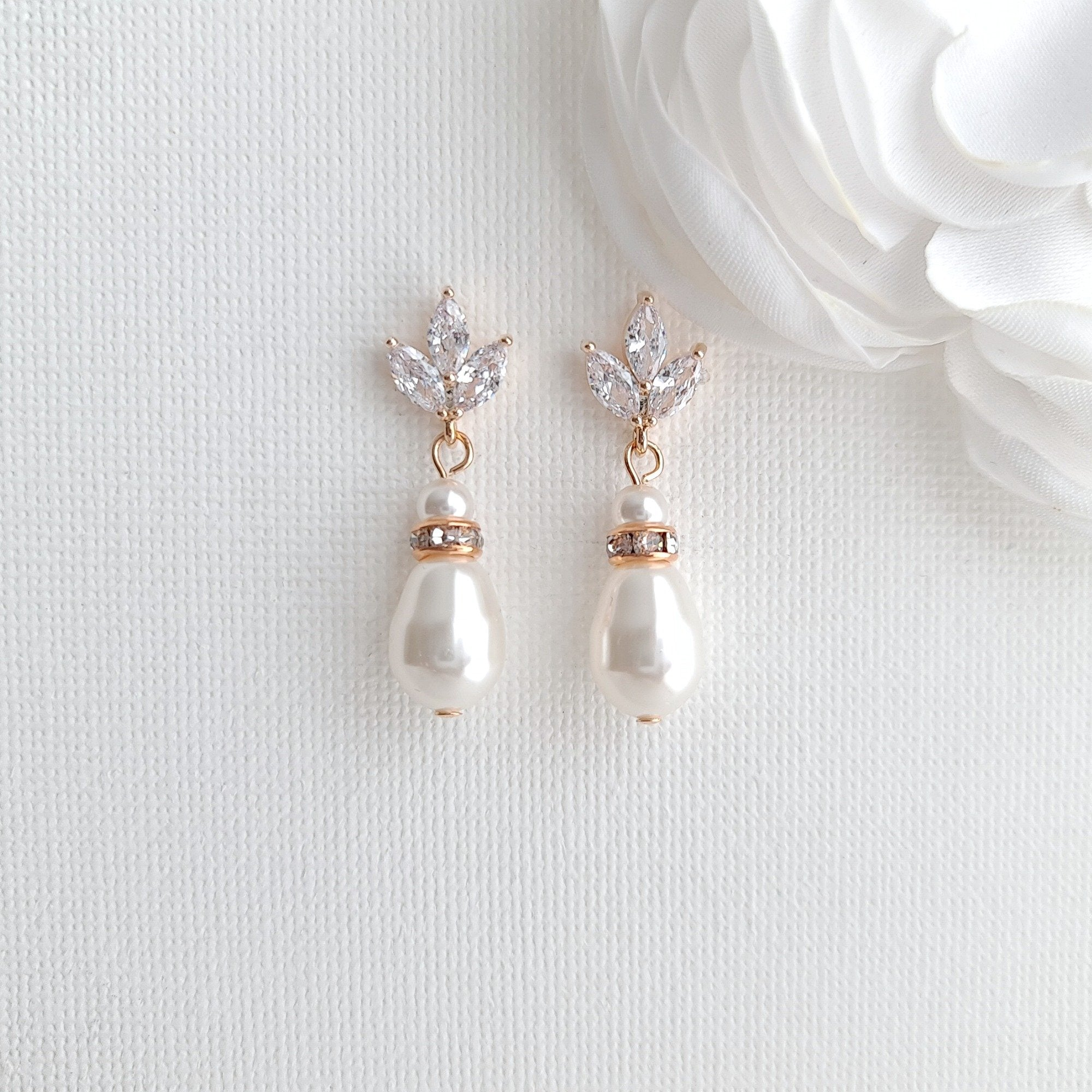 Rose Gold Pearl Necklace and Earrings Wedding Jewelry Set