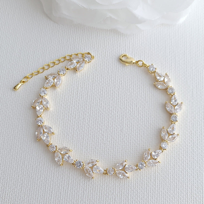 Bracelet for the Bride in cubic zirconia and Silver-Anya