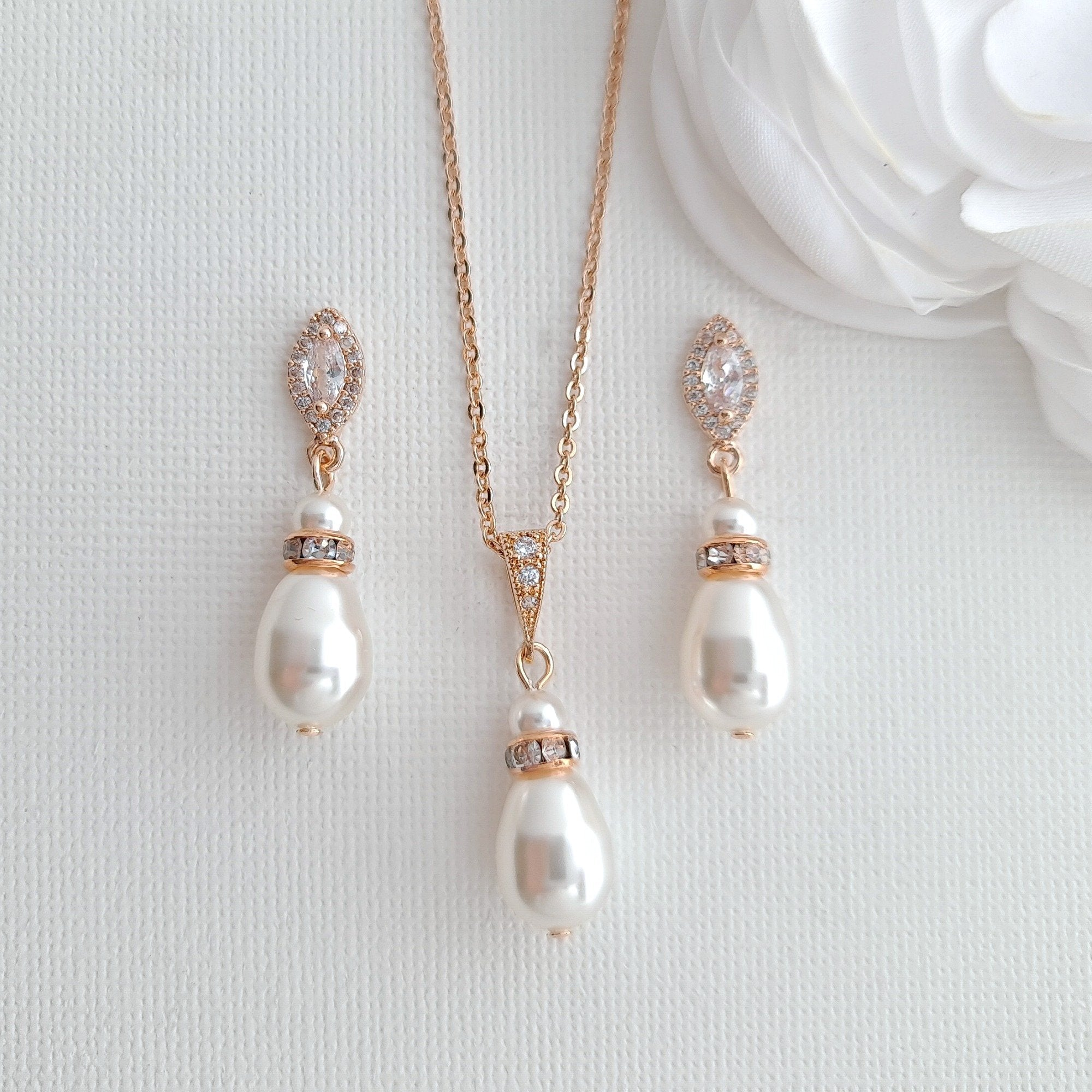 Bridesmaids Jewelry Gift under $50,Pearl Earrings Necklace Set- Ella - PoetryDesigns