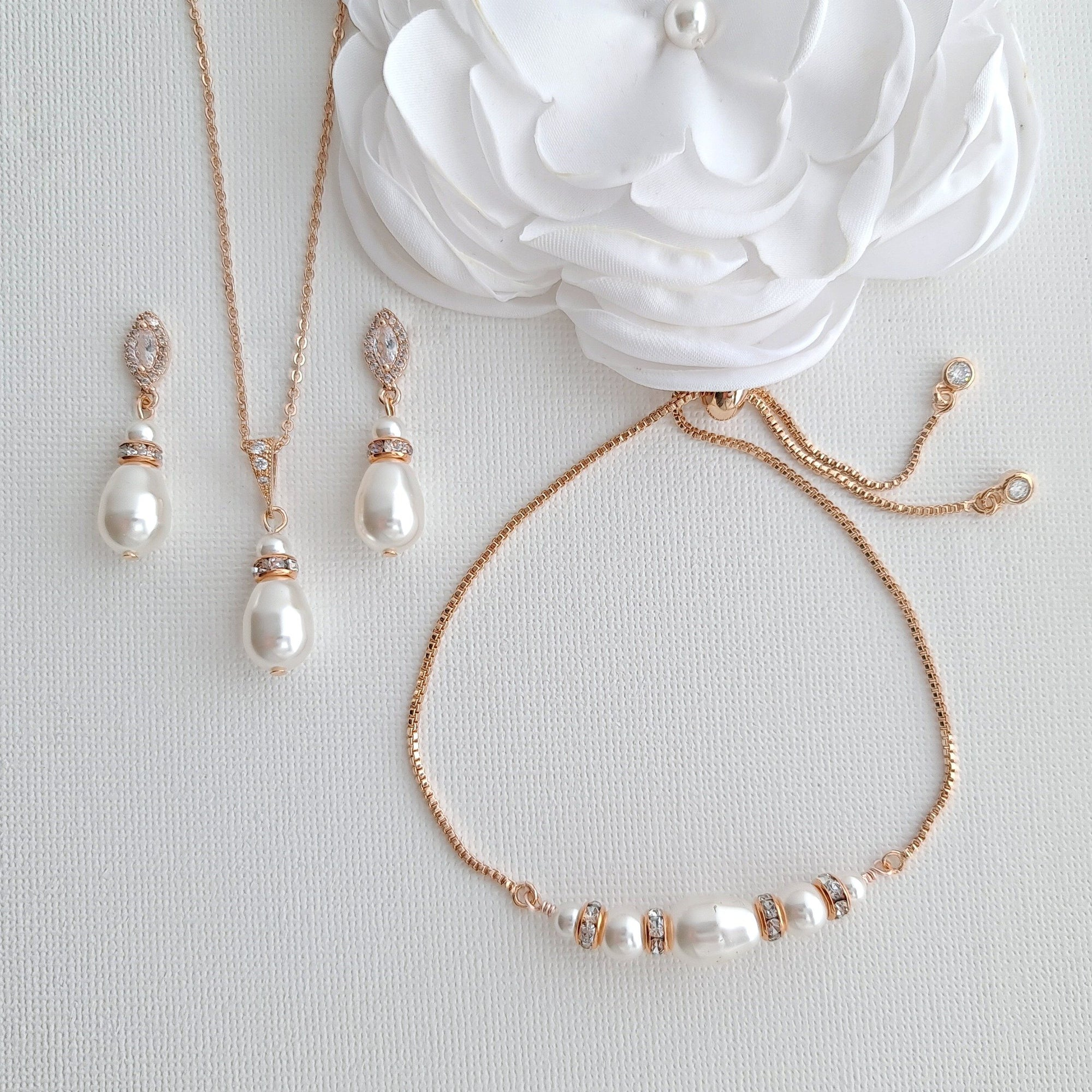 Jewelry Set for Brides With Pearl Bracelet+Pearl Earrings+Pearl Necklace-Ella - PoetryDesigns