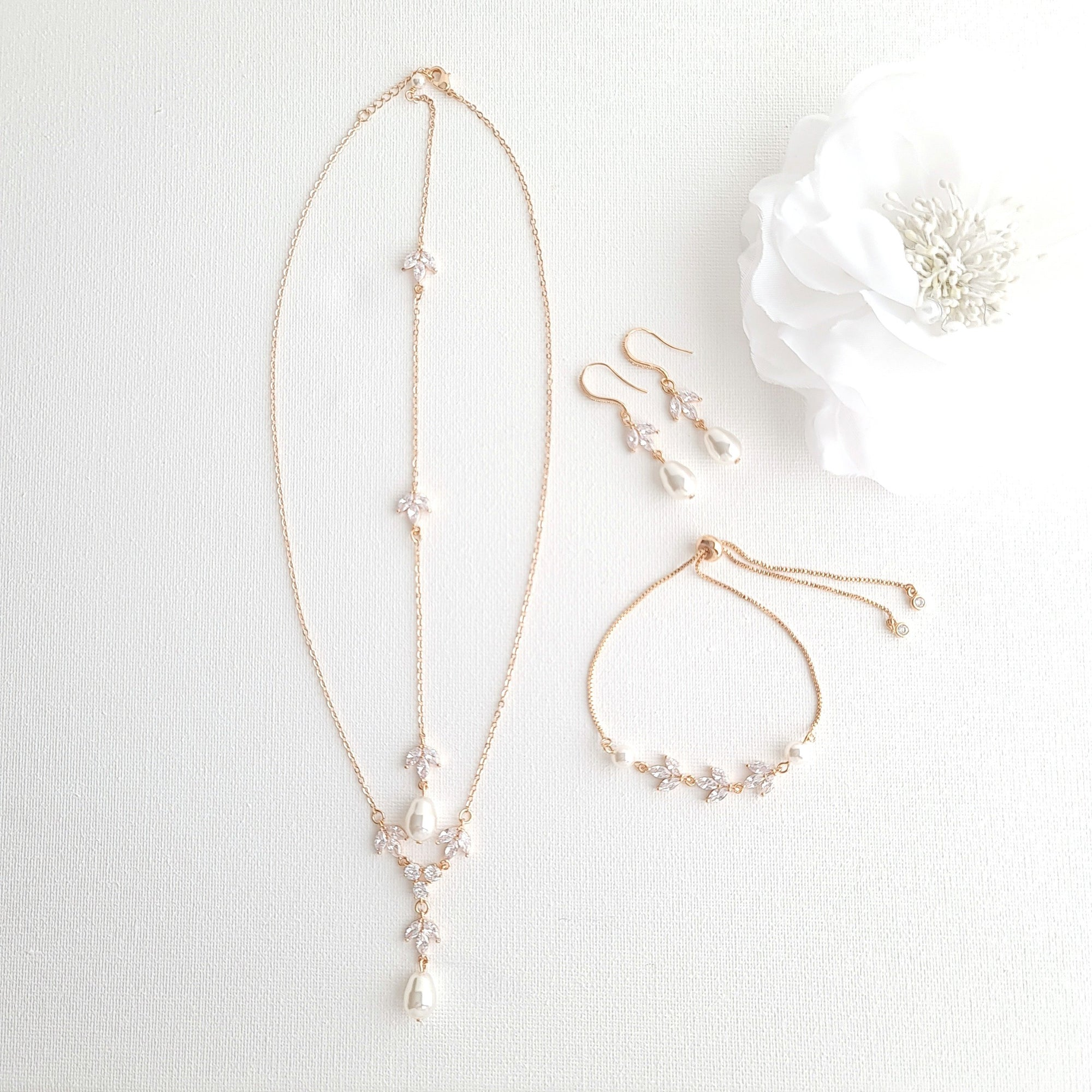 Jewelry Set for brides in Simple Design- Rose Gold- Leila - PoetryDesigns