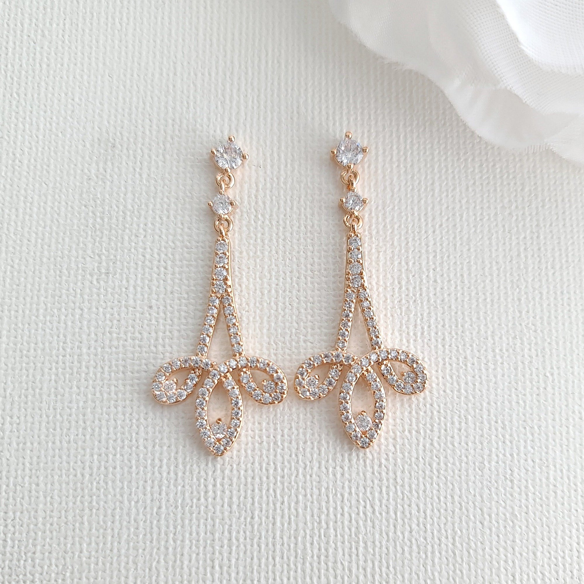 Rose Gold Cubic Zirconia Earrings-Allison - PoetryDesigns