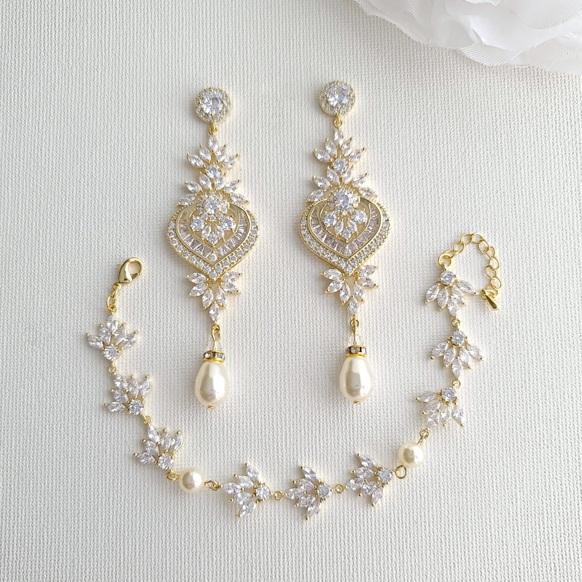 Wedding Earrings and Bracelet Set Gold- Poetry Designs