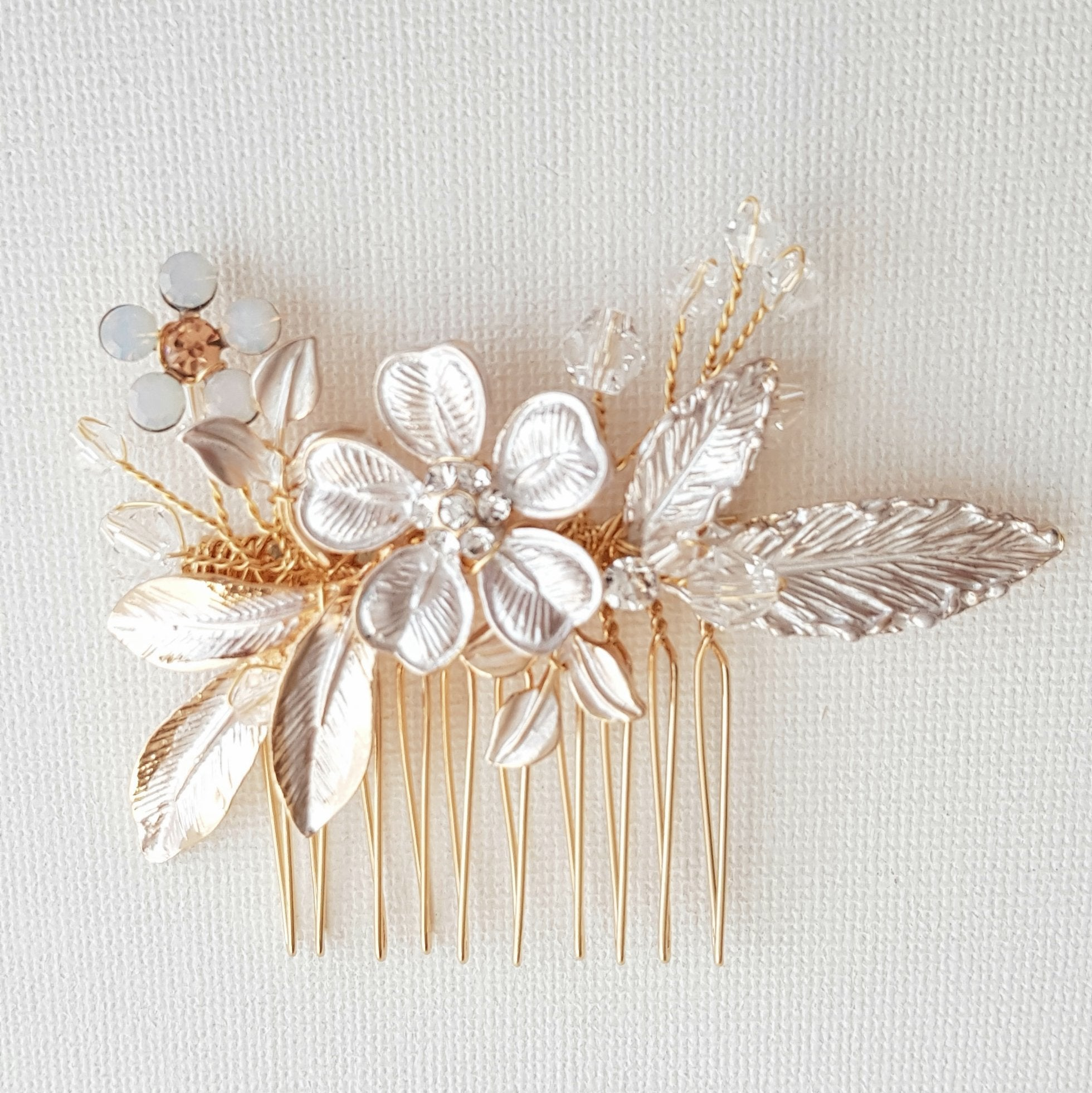 Small Gold Bridal Hair Comb With Flower & Leaves-Posy - PoetryDesigns