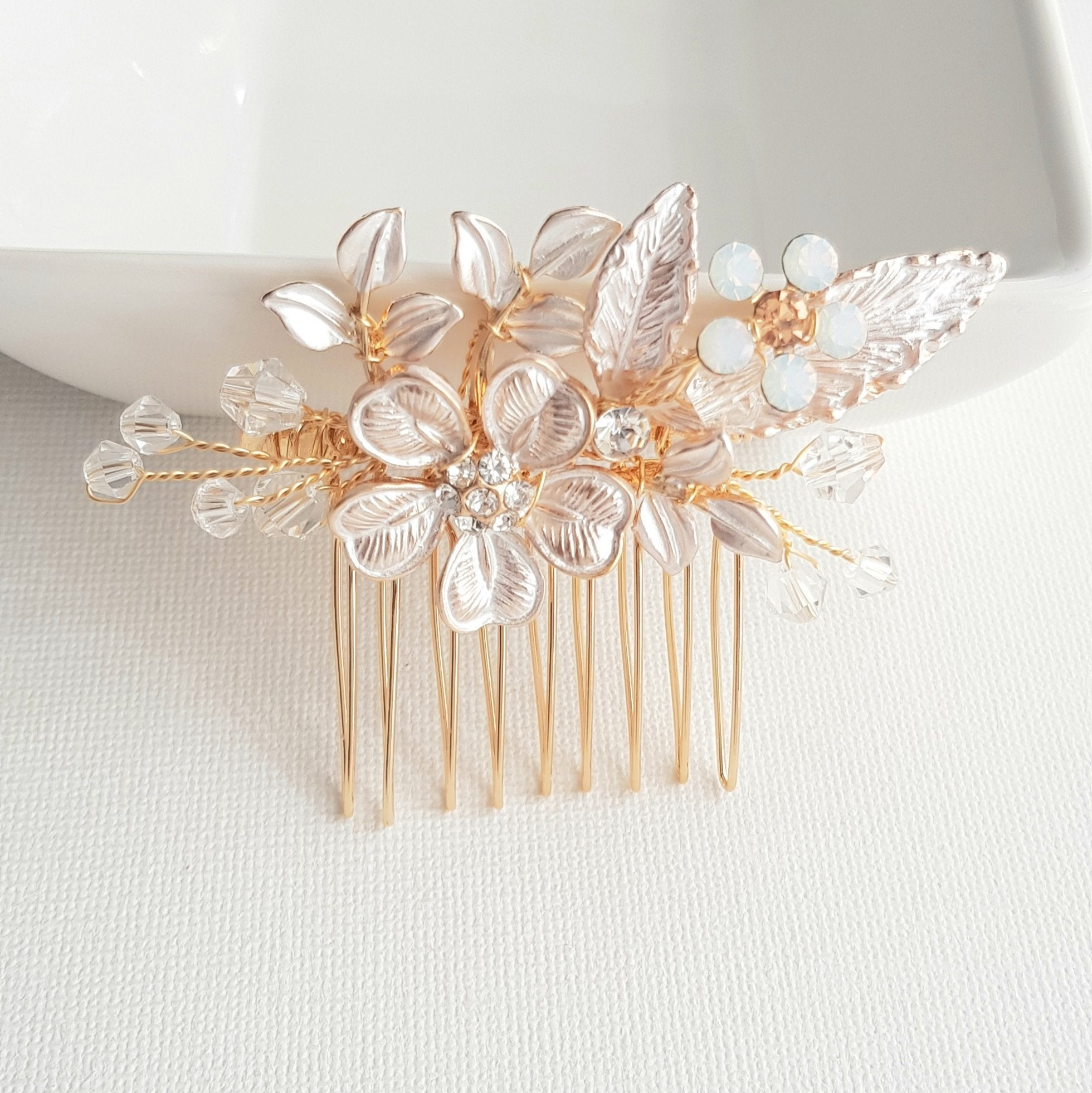 Dainty Flower & Leaf Wedding Hair Comb- Posy - PoetryDesigns