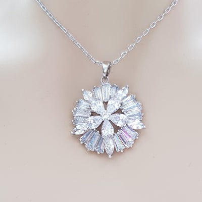 Round Flower Pendant with Cubic Zirconia-Buttercup