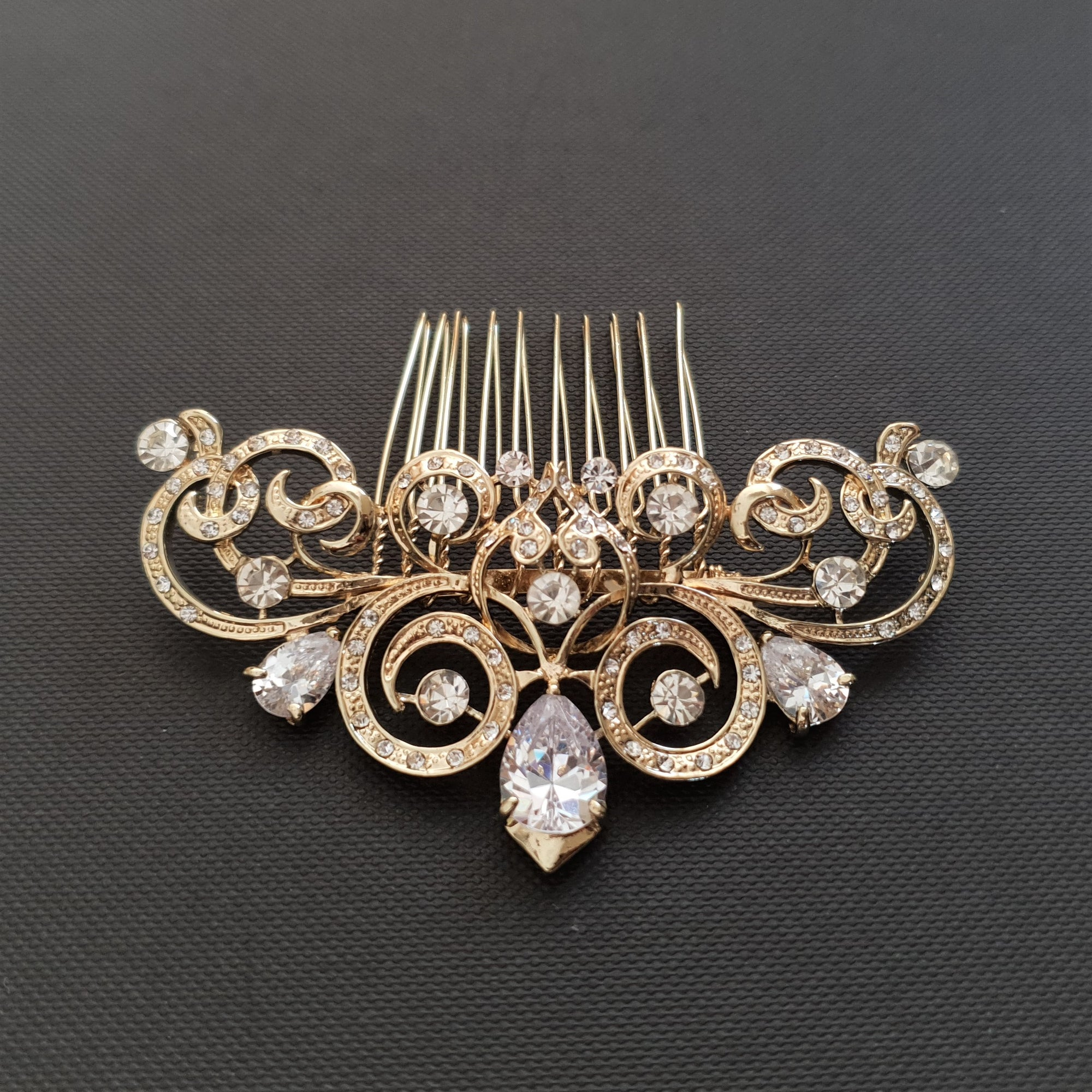 Decorative Victorian Style Bridal Hair Comb in Gold-Agatha
