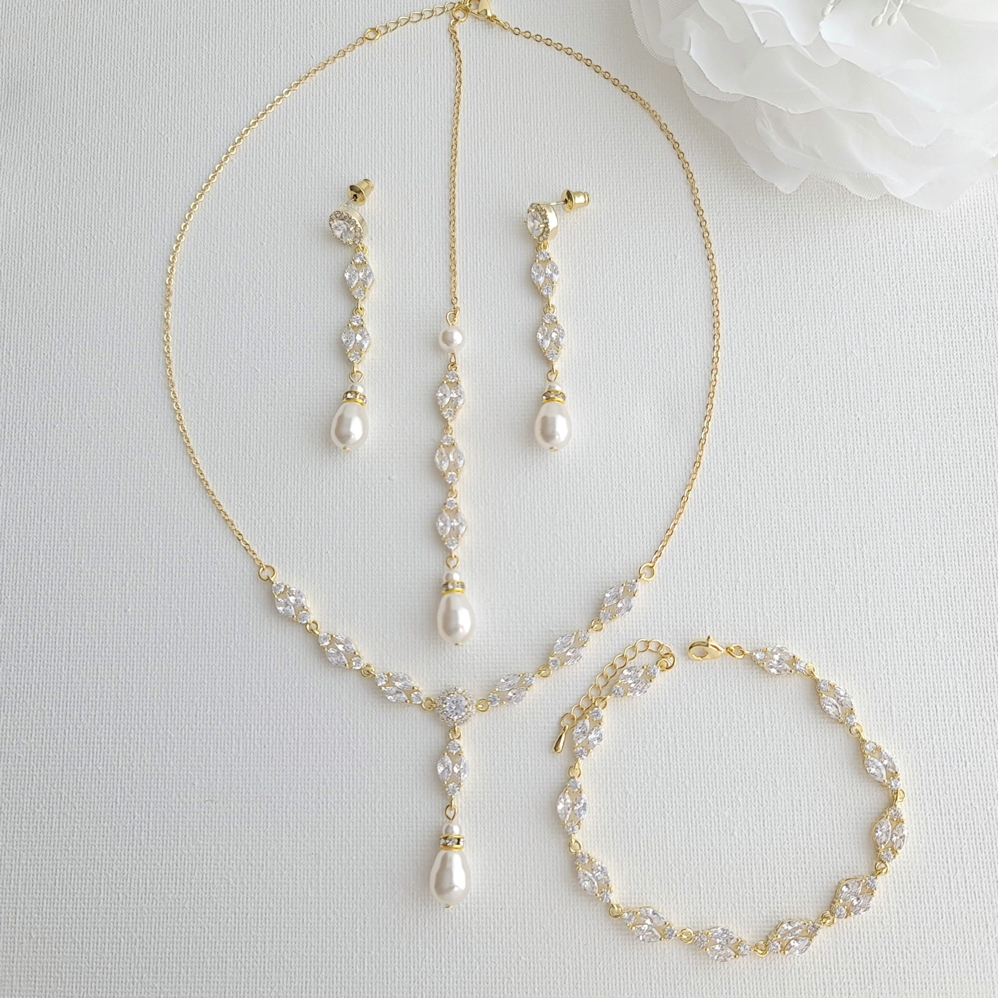 Gold Bridal Jewelry Set with Pearl Crystal Earrings Back Necklace Bracelet Set-Hayley - PoetryDesigns