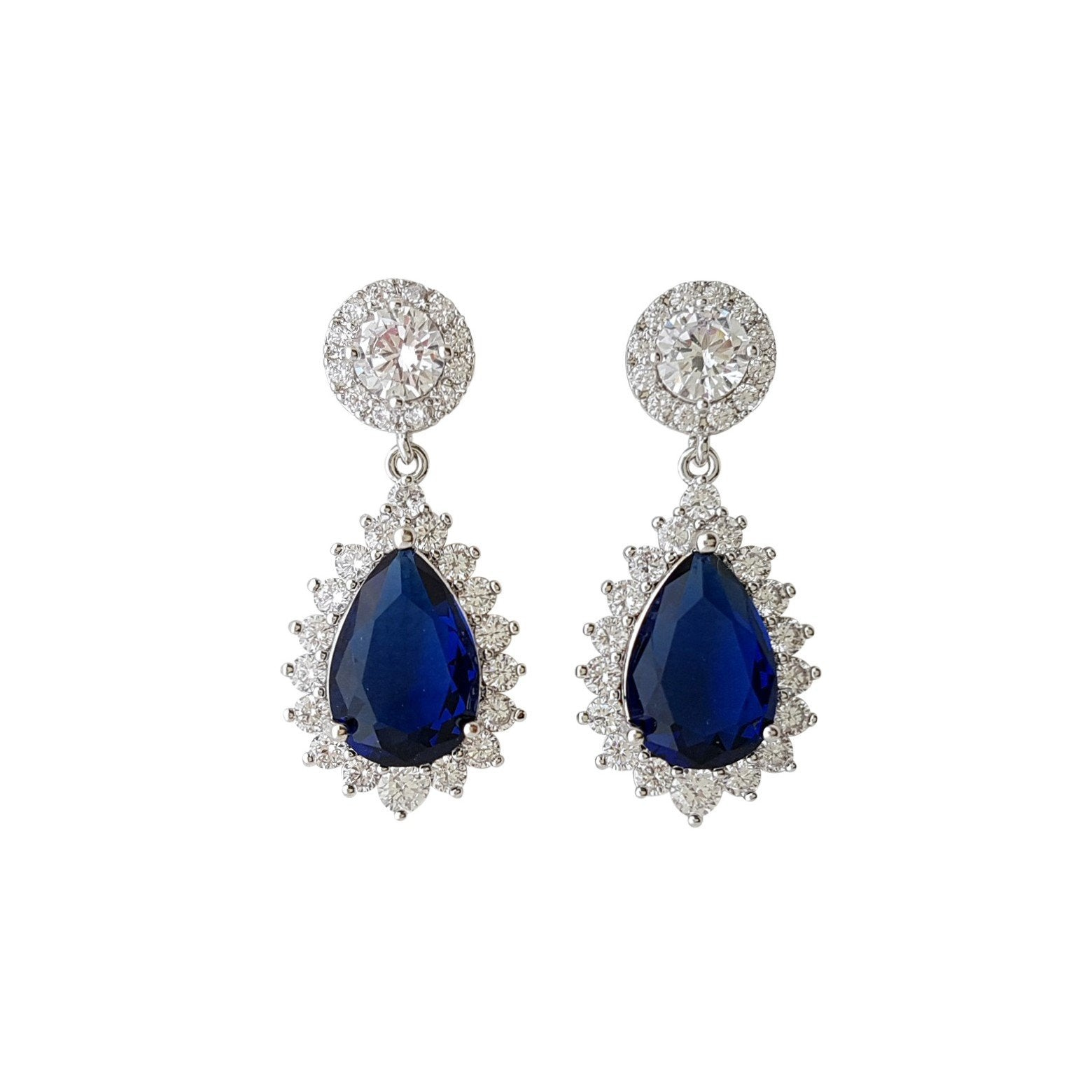 blue stone earrings Made of Cubic Zirconia- Poetry Designs