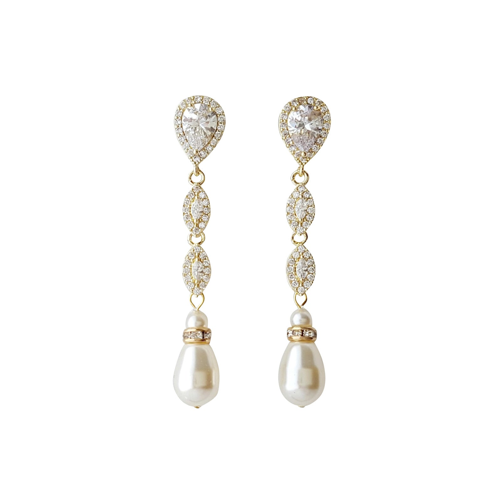 Gold Pearl Drop Earrings-Abby