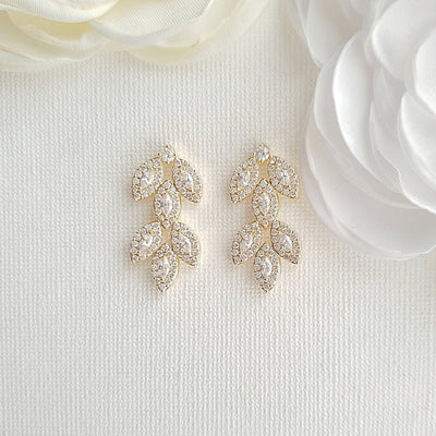 Rose Gold Leaf Earrings Studs- Abby
