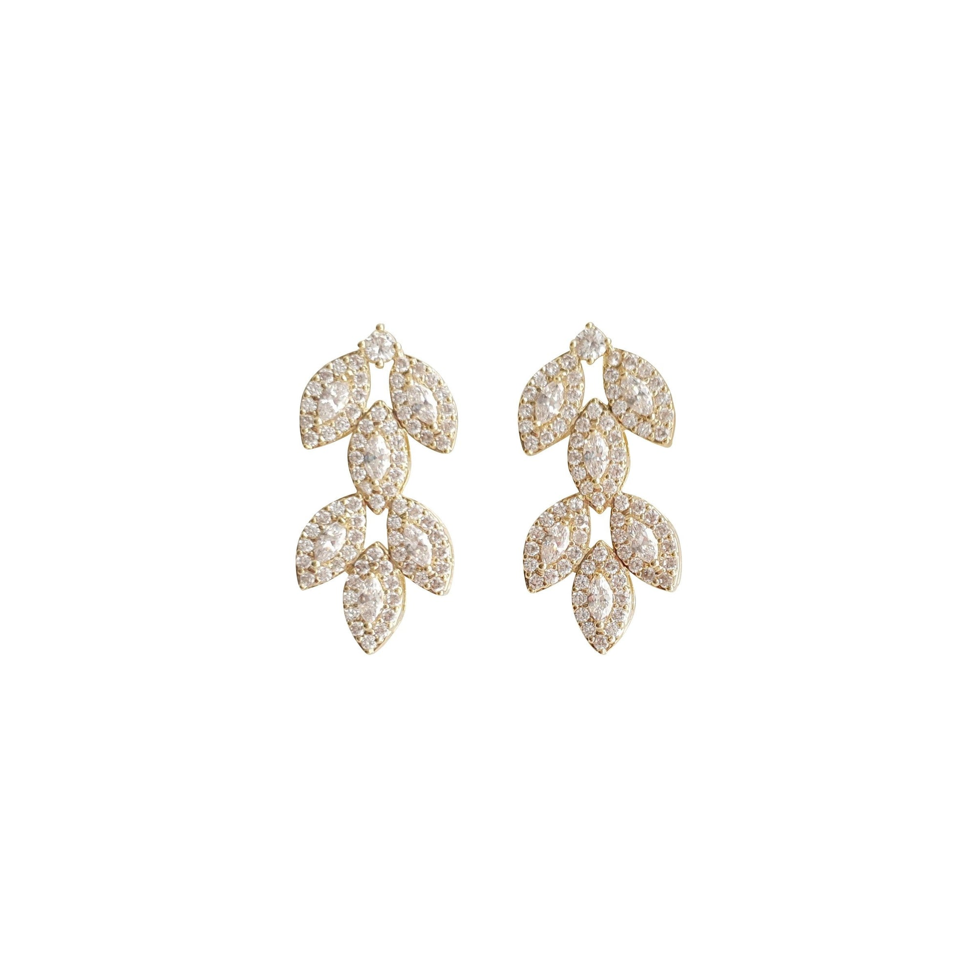Cubic Zirconia Gold Leaf Stud Earrings- Abby