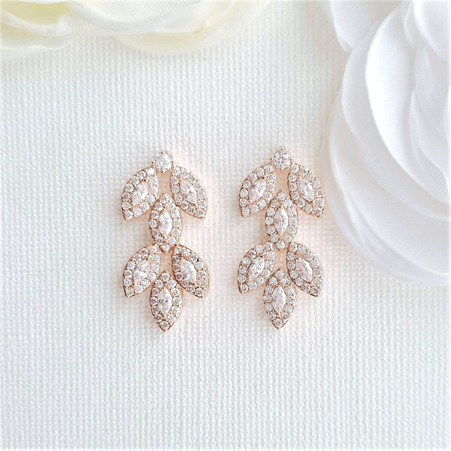 Rose Gold Leaf Earrings Studs- Abby - PoetryDesigns