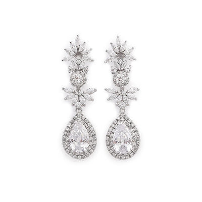 Drop Bridal Earrings in Cubic Zirconia