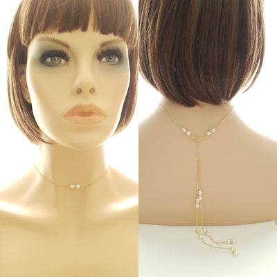 Pearl Backdrop Wedding Necklace-Ava