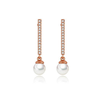 Bar Stud Earrings in Rose Gold- Debbi