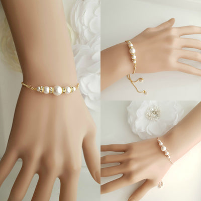 Rose Gold Pearl Bridal Bracelet- Ava