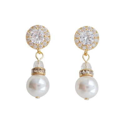 Simple Rose Gold Drop Pearl Earrings- Bronte