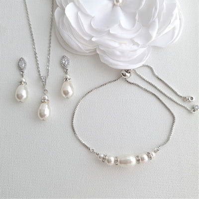 Simple Pearl Wedding Jewelry Set with Pearl Earring,Necklace,Bracelet for Brides-Ella