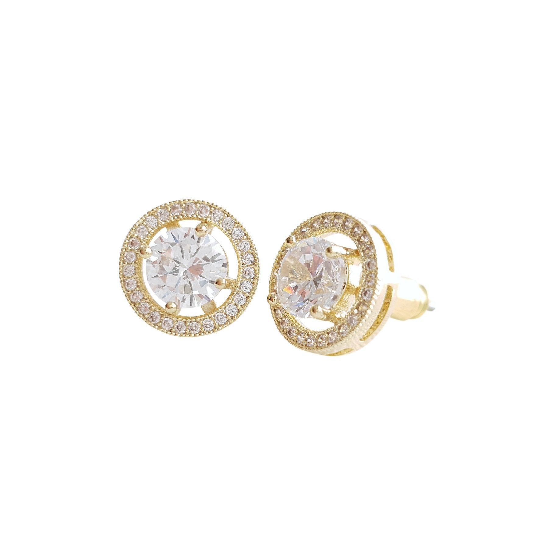 Gold Round Stud Earrings in Cubic Zirconia- Denise - PoetryDesigns