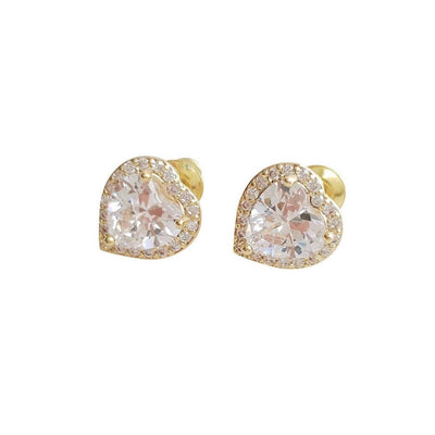 Heart shaped Gold and Cubic Zirconia Stud Earrings