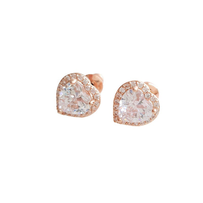 Small Rose Gold Heart Stud Earrings
