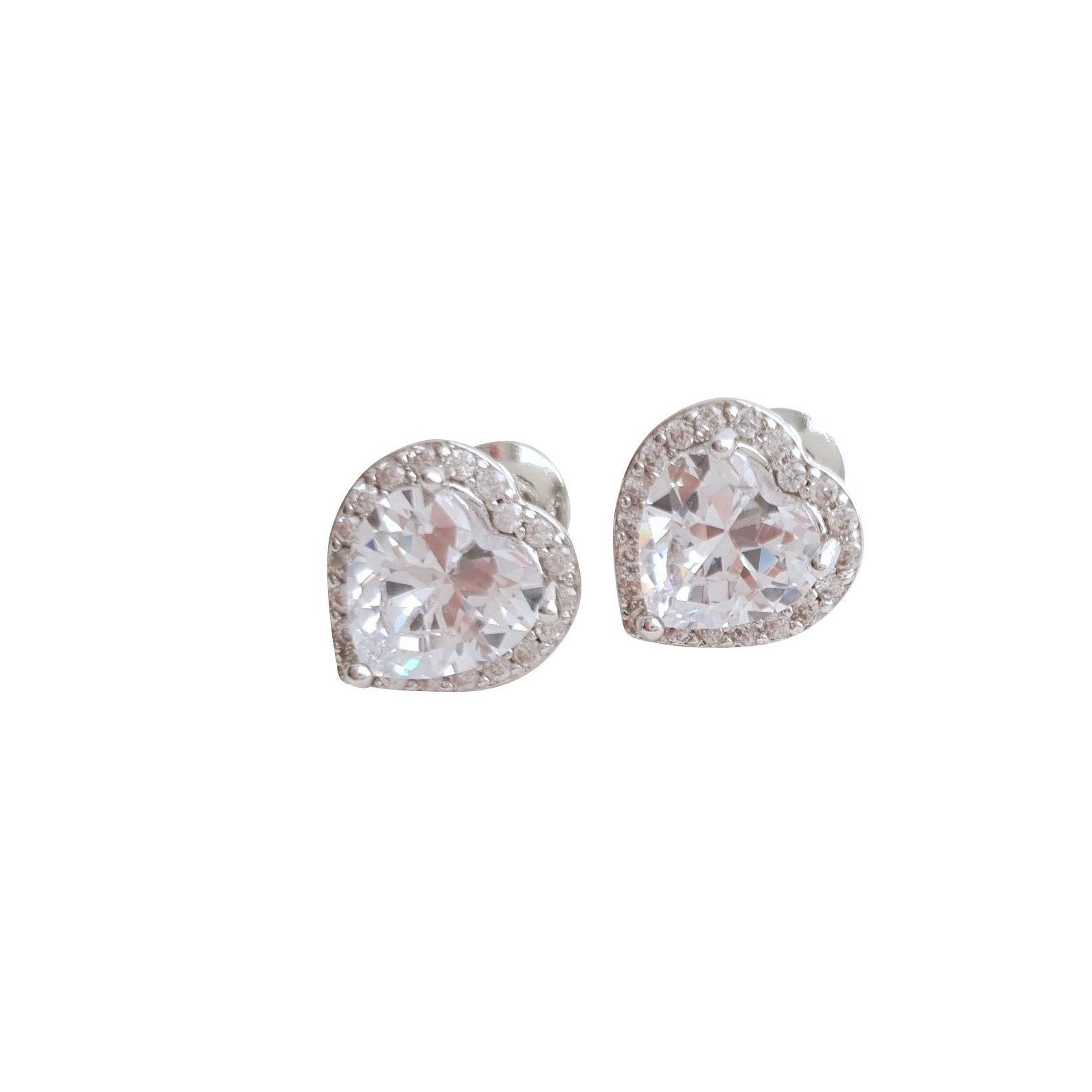 Cubic Zirconia Heart Earrings for Bridesmaids-Diana