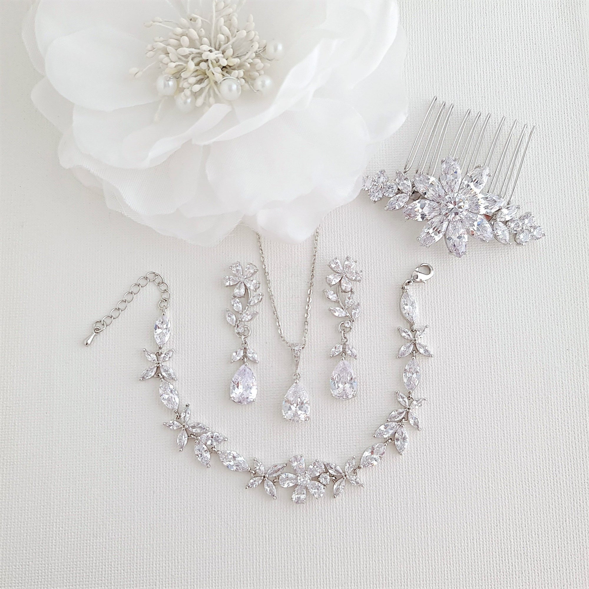 Wedding Jewelry Set for Brides-Daisy - PoetryDesigns