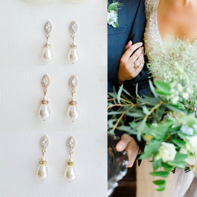 Gold Teardrop Pearl Earrings for Weddings- Ella