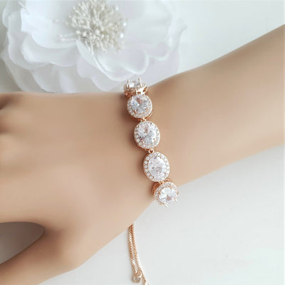Silver and Crystal Bracelet for Weddings- Emily