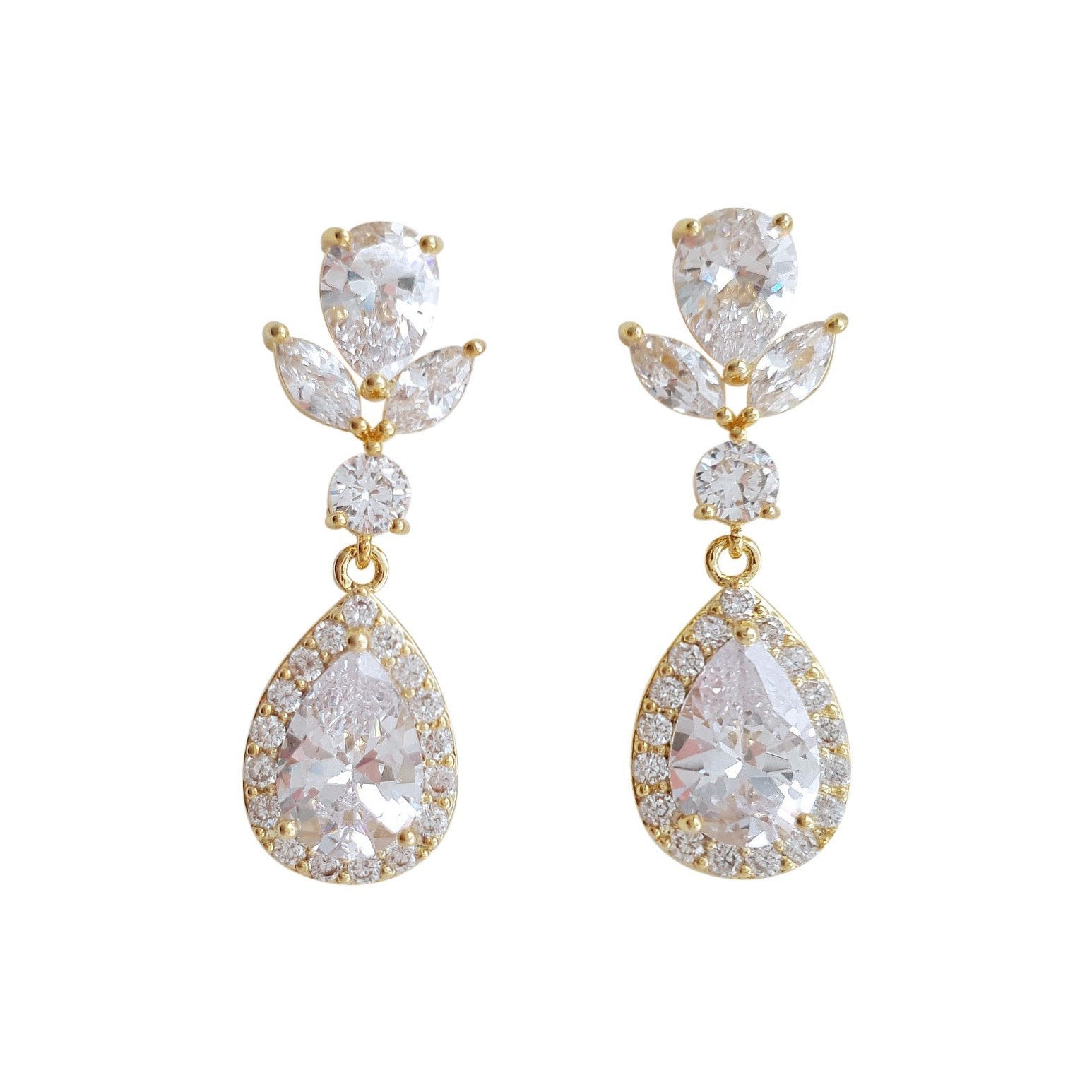 Drop Bridal Earrings Gold-Emma