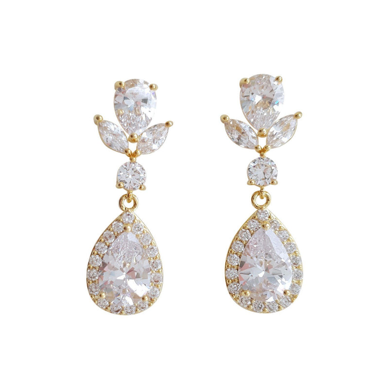 Crystal Teardrop Earrings-Emma