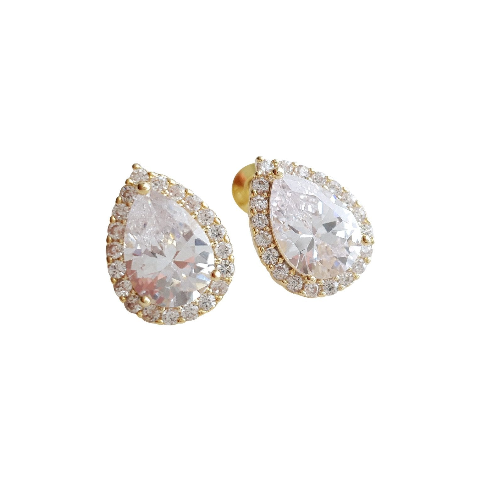 Gold Teardrop Stud Earrings- Emma
