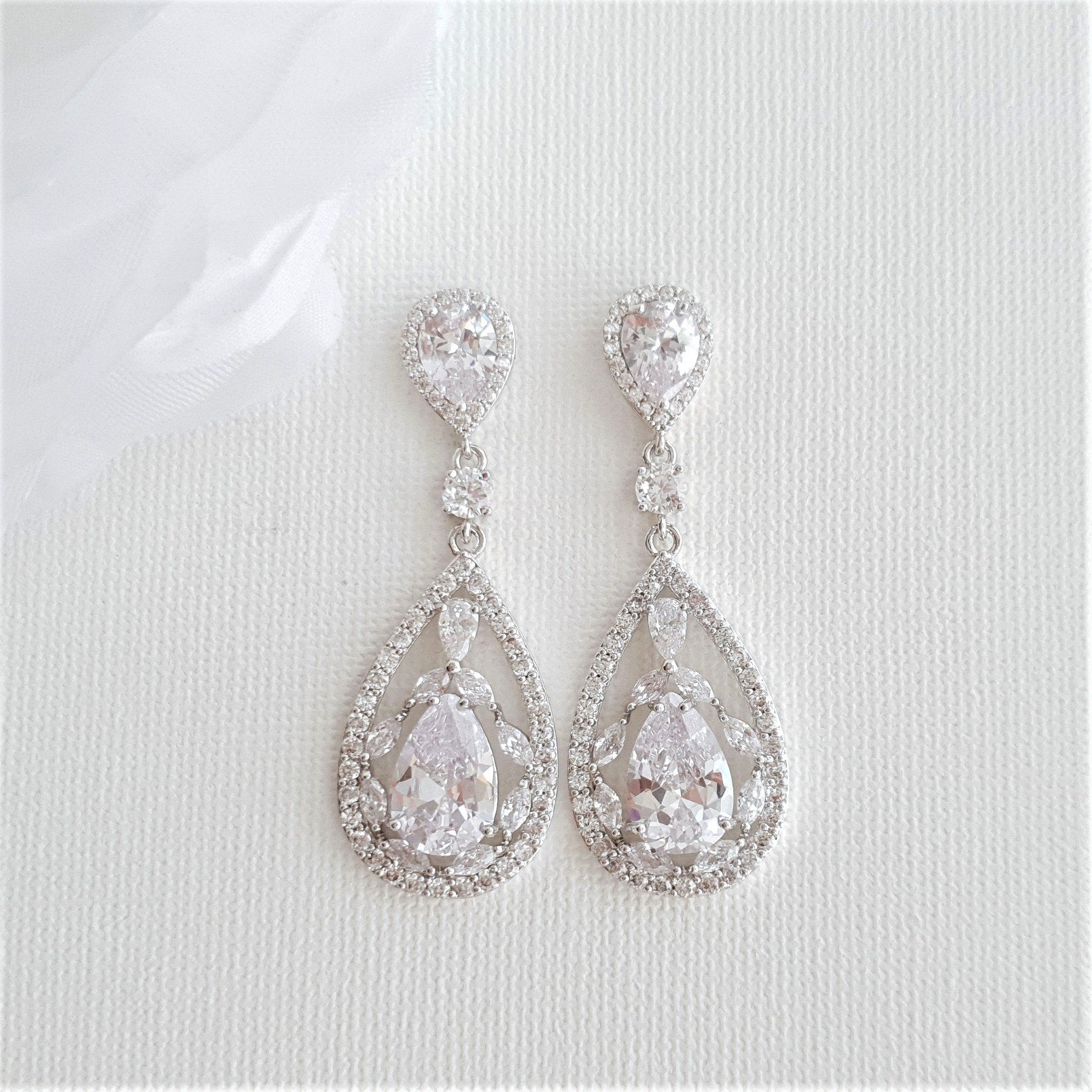 Crystal Wedding Earrings Drop-Esther - PoetryDesigns
