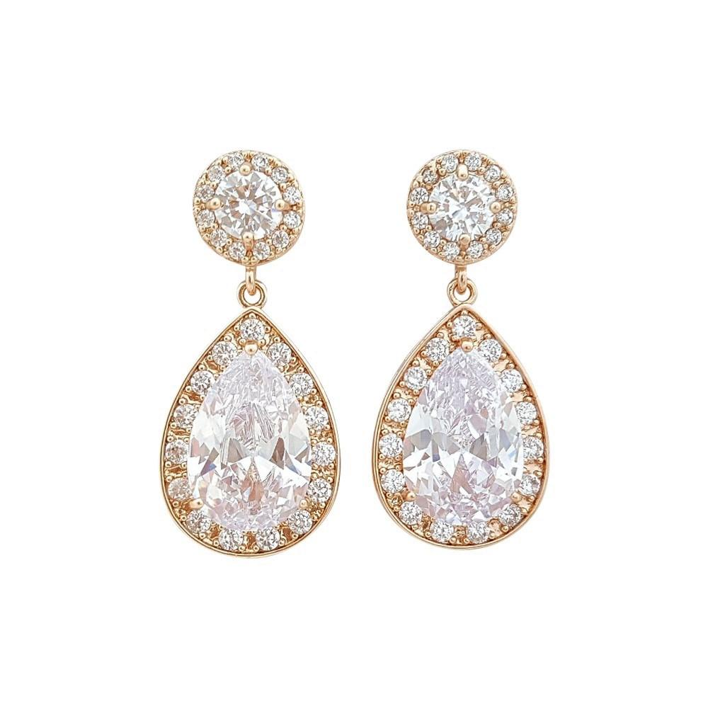 Rose Gold Wedding Earrings-Evita