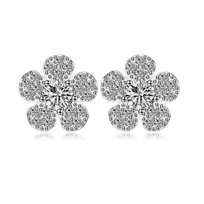 Flower Earring Cubic Zirconia Studs- Kelly