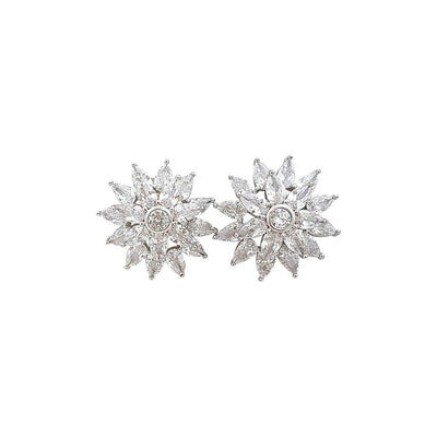 Flower Stud Earrings in Cubic Zirconia Ruth
