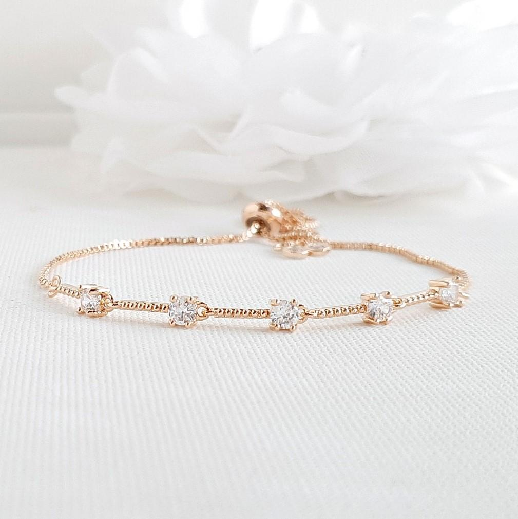 Delicate Wedding Bracelet in Rose Gold for Brides & Bridesmaids- Ginger