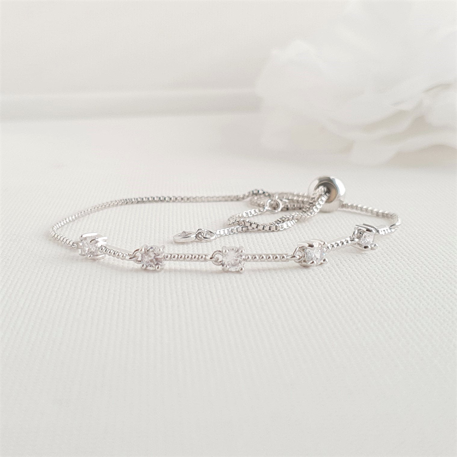 Delicate Silver Wedding Bracelets for Brides & Bridesmaids- Ginger