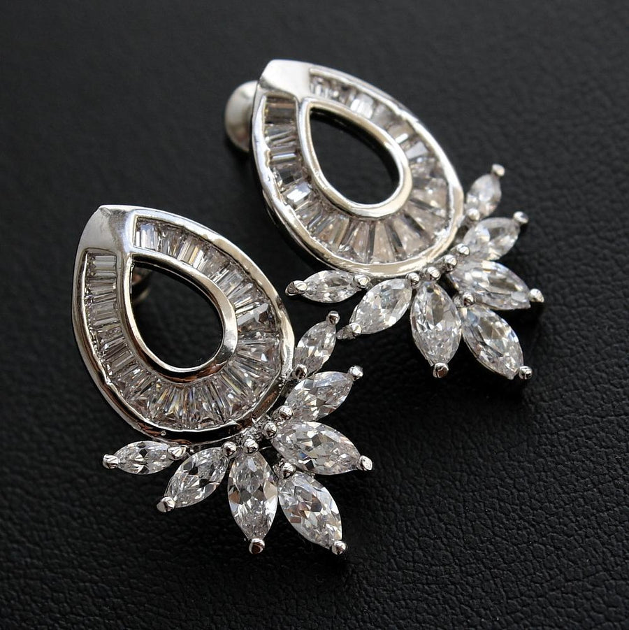 Cubic Zirconia Oval Stud Earrings