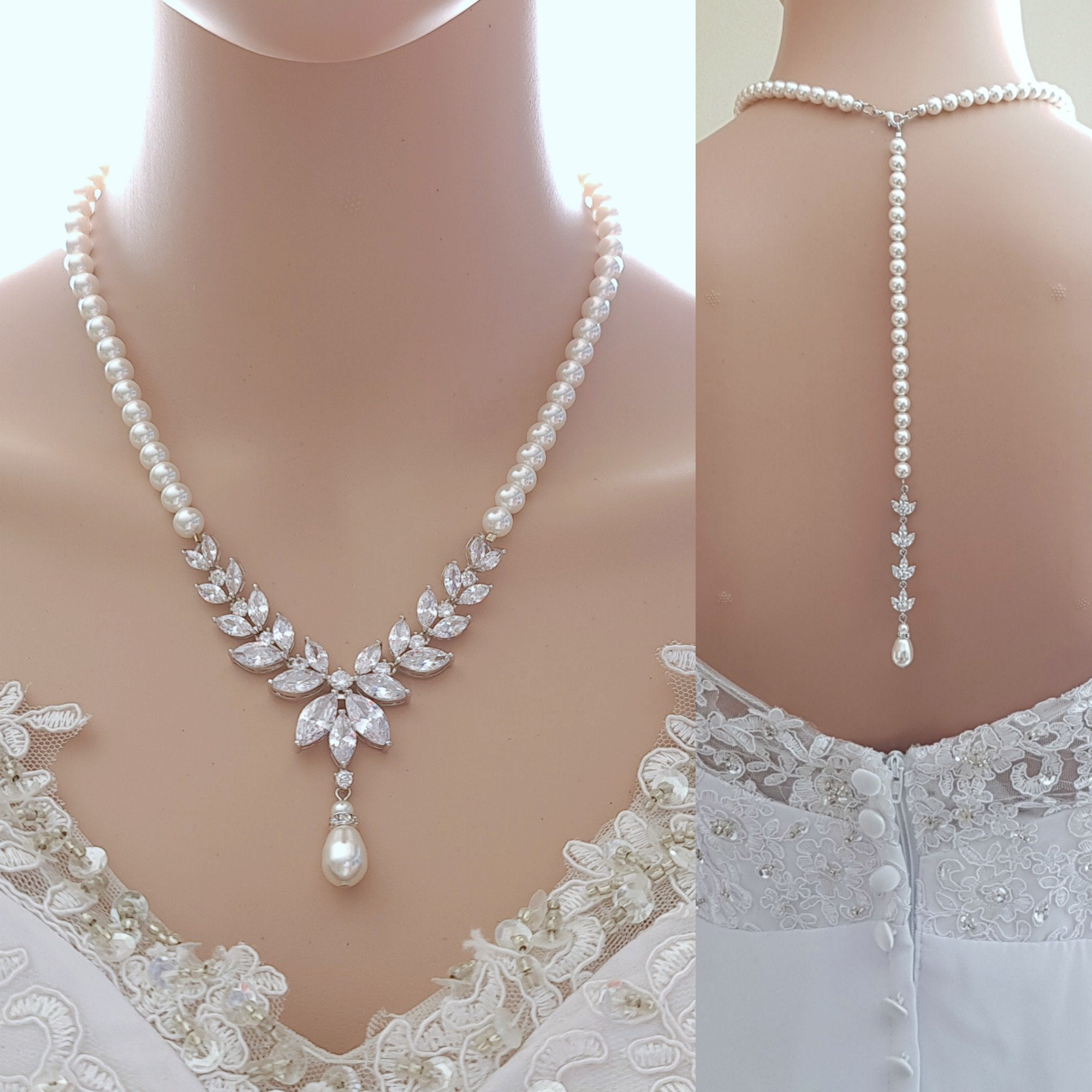 Pearl Bridal Necklace with Detachable Backdrops-Katie - PoetryDesigns