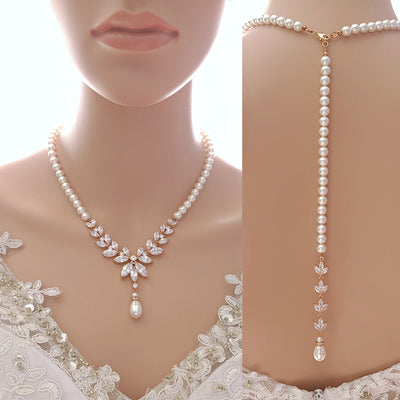 Pearl Bridal Necklace with Detachable Backdrops-Katie