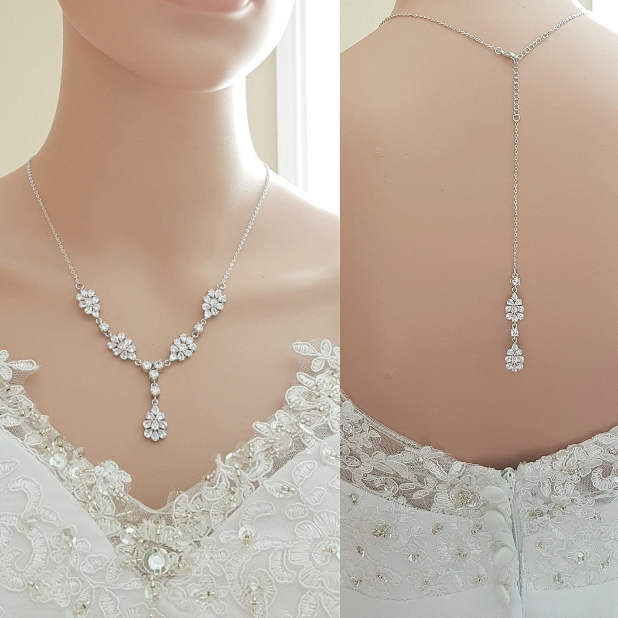 Bridal Jewelry Back Necklace in Rose Gold-Julia - PoetryDesigns