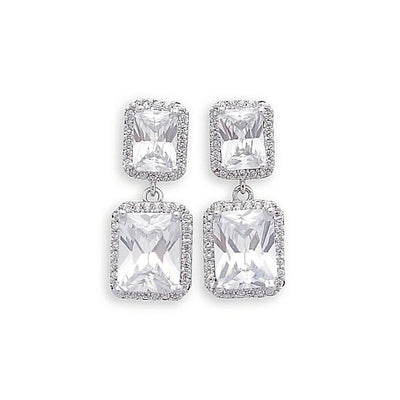 CZ rectangle Drop Earring for Weddings and Brides