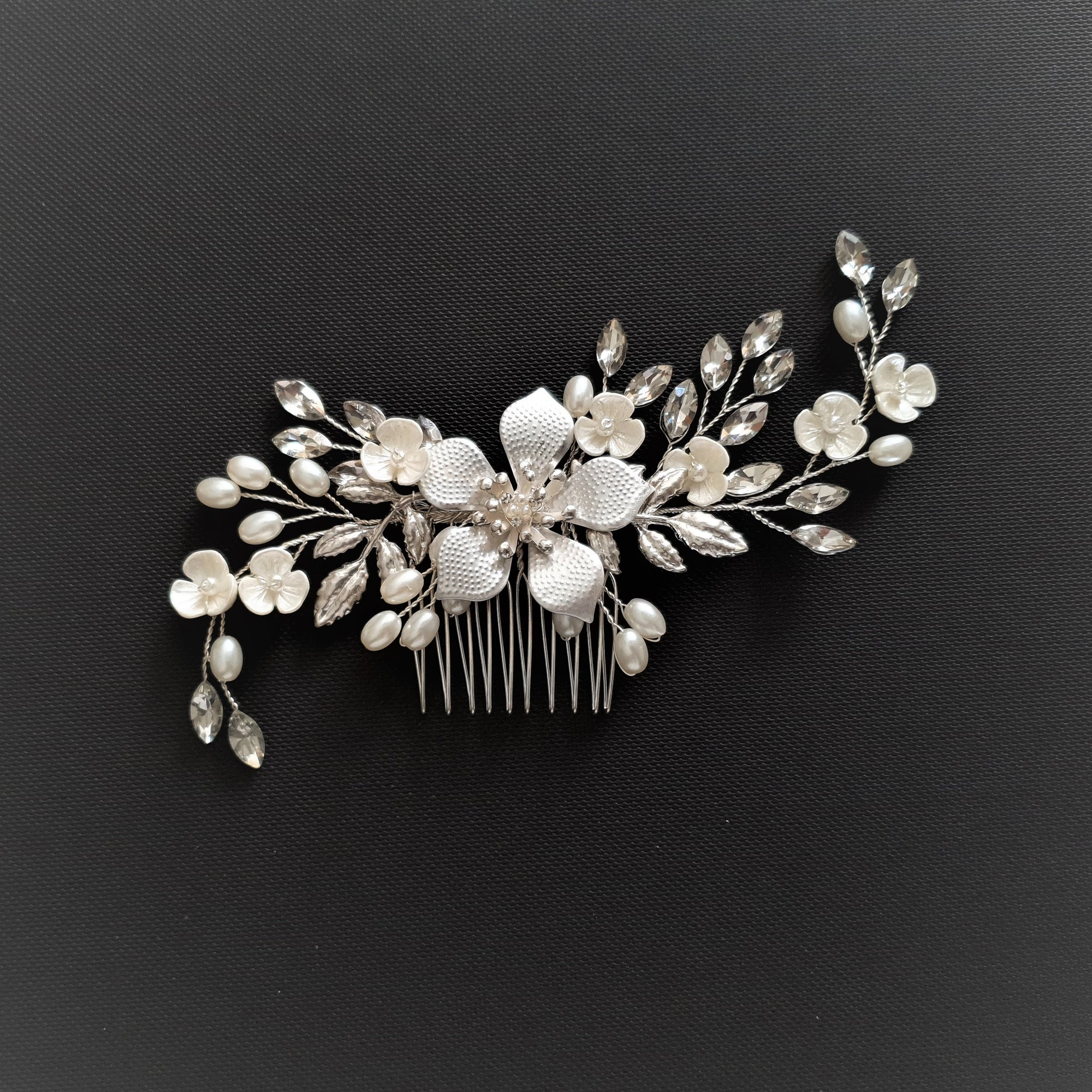 Jeweled Rose Gold Bridal Hair Comb with Pearl & Crystal Leaves-Freya