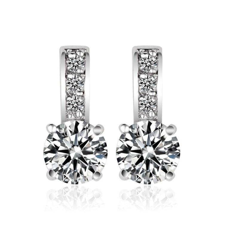 Stud Drop Earring In Cubic Zirconia- Christy