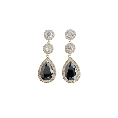 Gold and Black Long Teardrop Earrings- Zoe