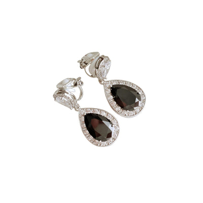 Black Clip On Earrings in Silver-Zoe