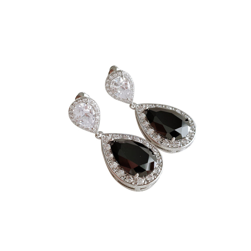 Black Drop Earrings- Zoe